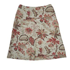 ANN TAYLOR LOFT Floral Silk Cotton Skirt Size 8
